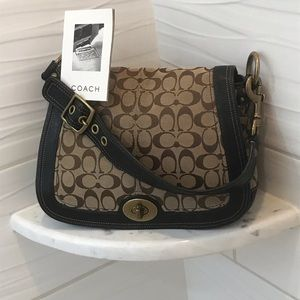 🔥COACH LOGO BROWN CANVAS LEATHER MEDIUM SIZE
